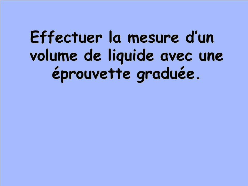 Effectuer la mesure d'un volume de liquide avec une éprouvette graduée.