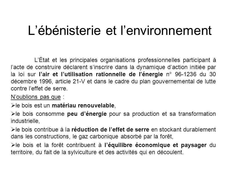 L'ébénisterie et l'environnement