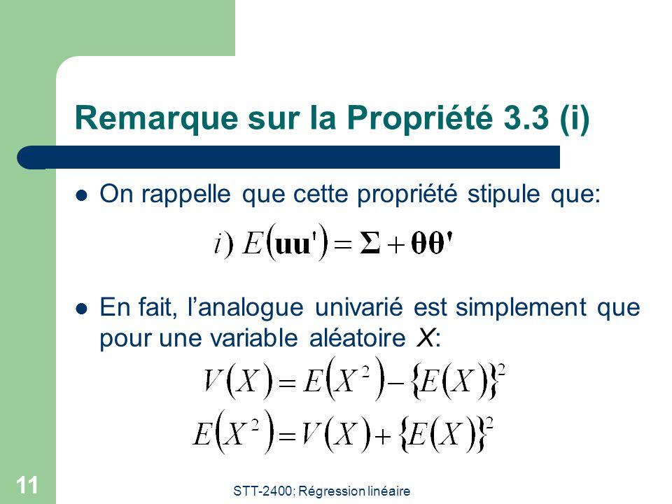 Remarque sur la Propriété 3.3 (i)