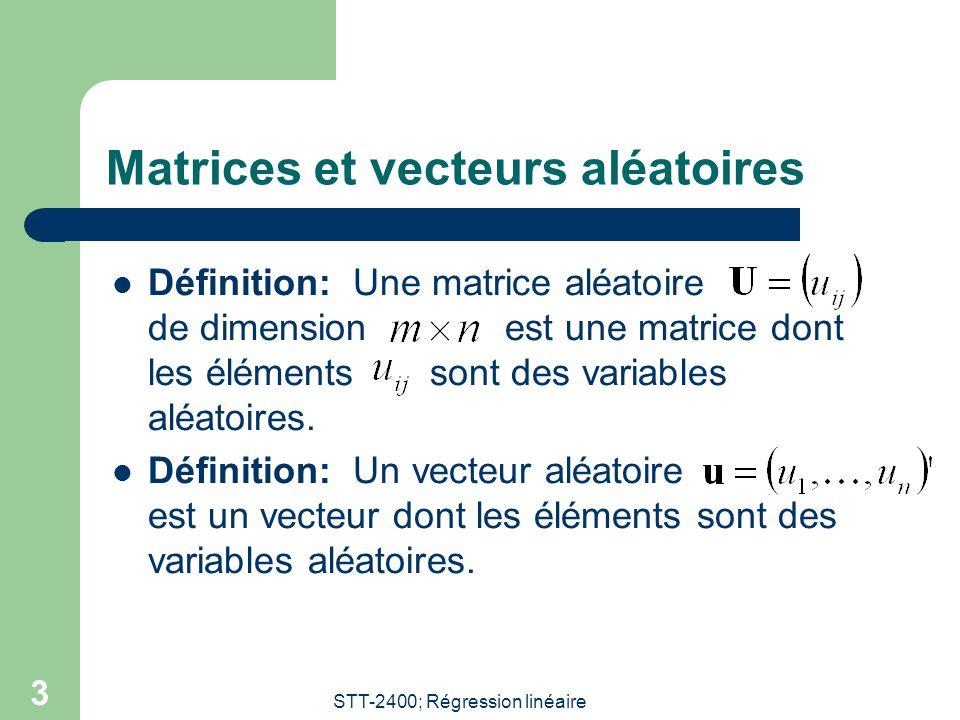Matrices et vecteurs aléatoires