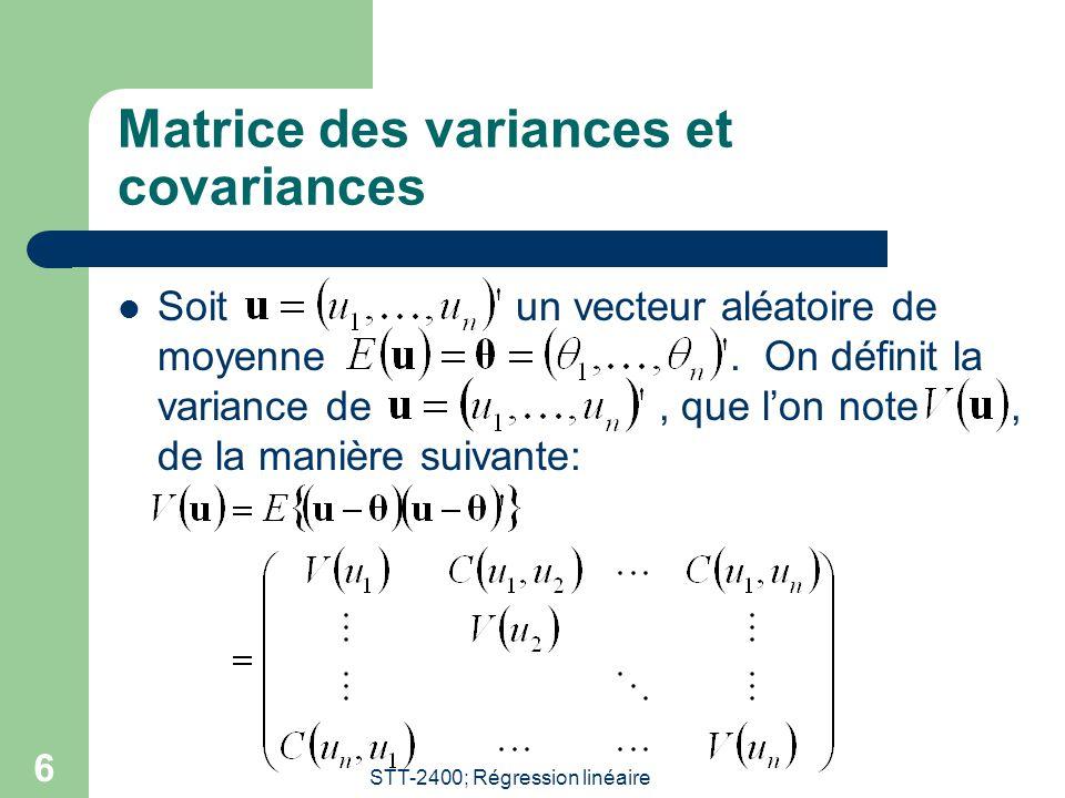 Matrice des variances et covariances