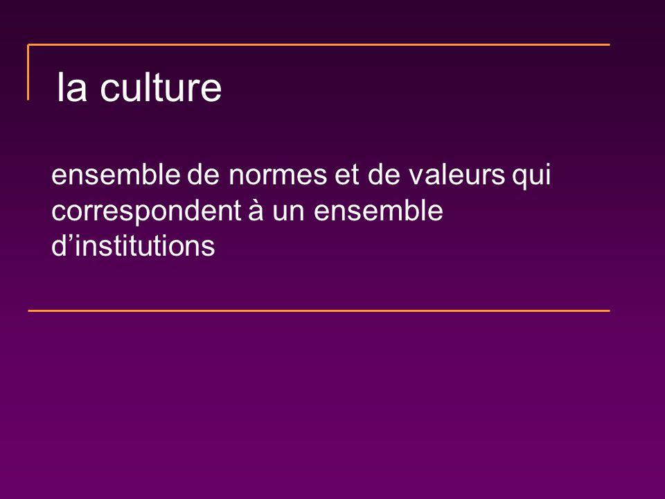 la culture ensemble de normes et de valeurs qui correspondent à un ensemble d'institutions