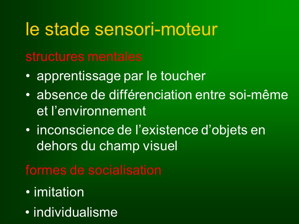 le stade sensori-moteur