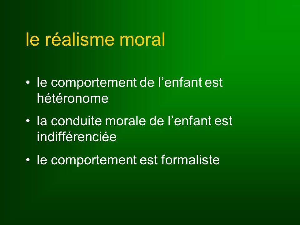 le réalisme moral le comportement de l'enfant est hétéronome
