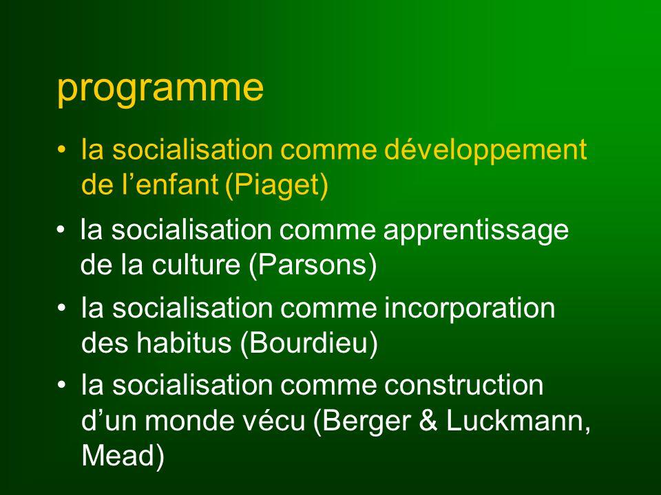 programme la socialisation comme développement de l'enfant (Piaget)