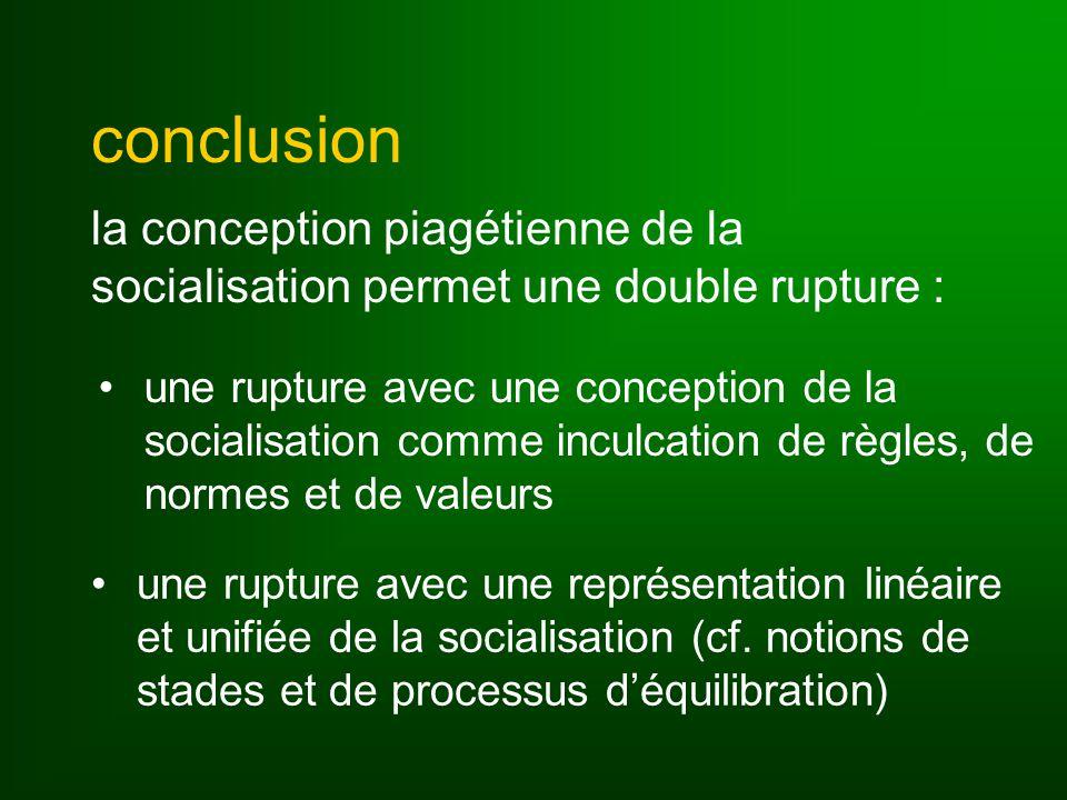 conclusion la conception piagétienne de la socialisation permet une double rupture :