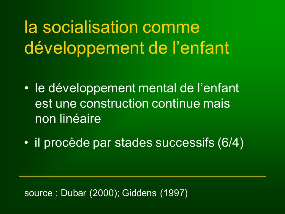 la socialisation comme développement de l'enfant