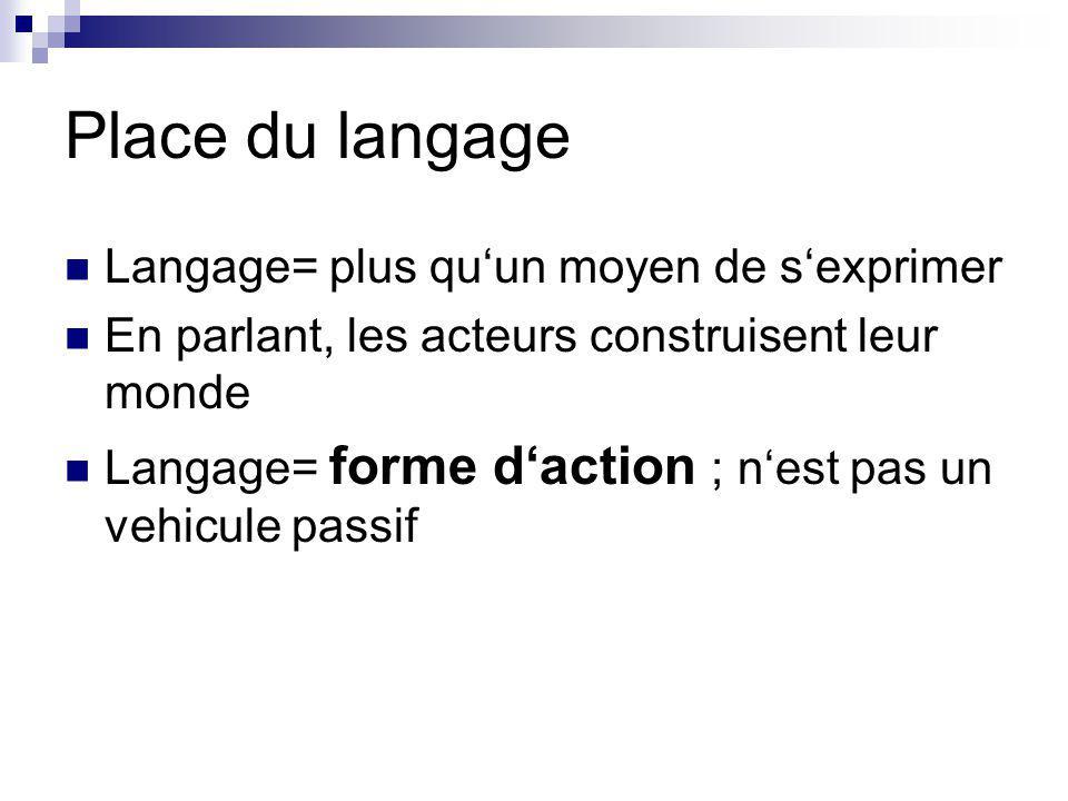Place du langage Langage= plus qu'un moyen de s'exprimer