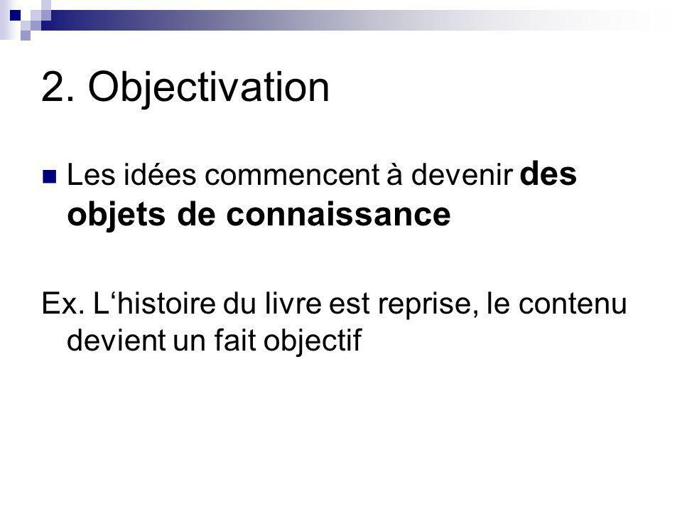 2. Objectivation Les idées commencent à devenir des objets de connaissance.