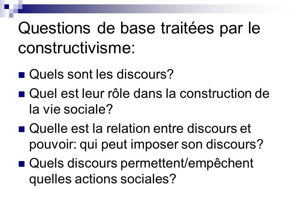 Questions de base traitées par le constructivisme: