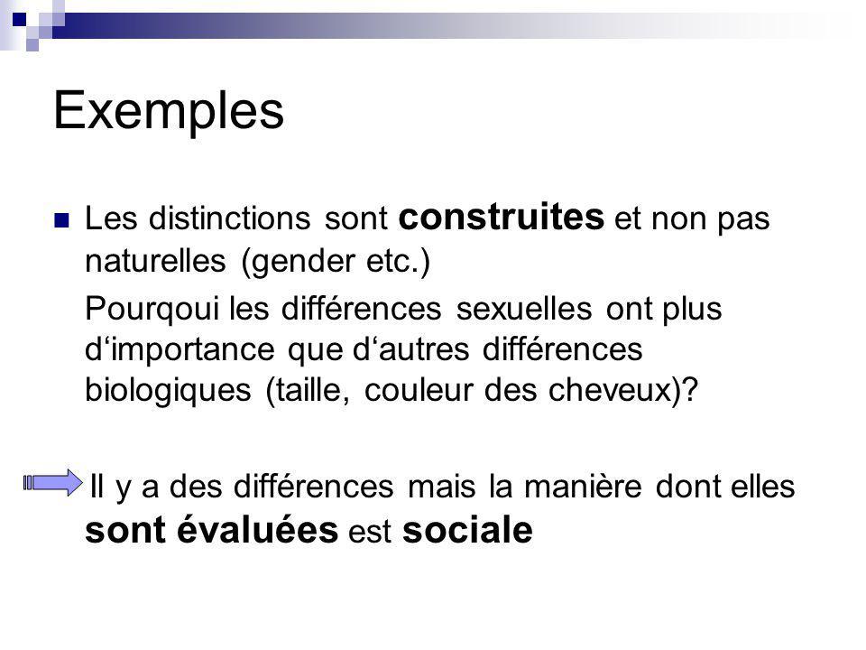 Exemples Les distinctions sont construites et non pas naturelles (gender etc.)
