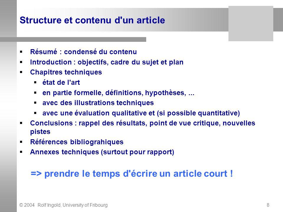 Structure et contenu d un article