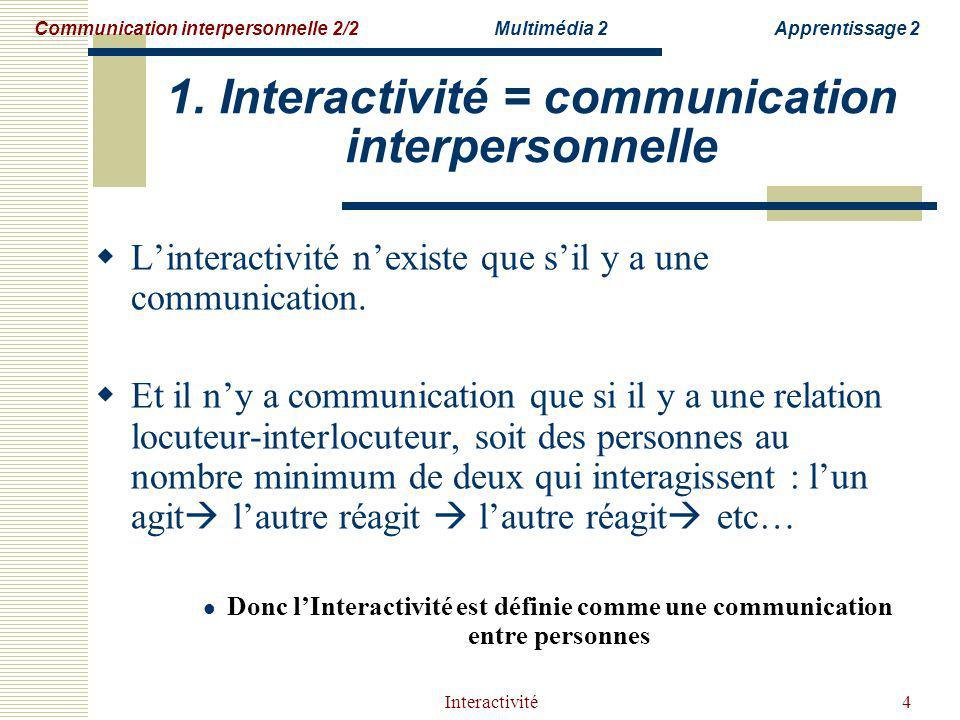 1. Interactivité = communication interpersonnelle