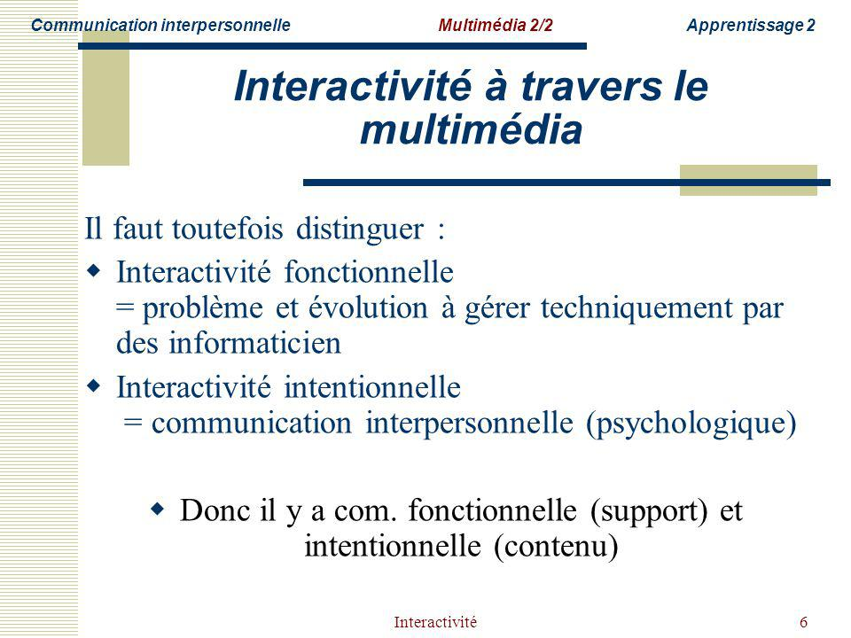 Interactivité à travers le multimédia