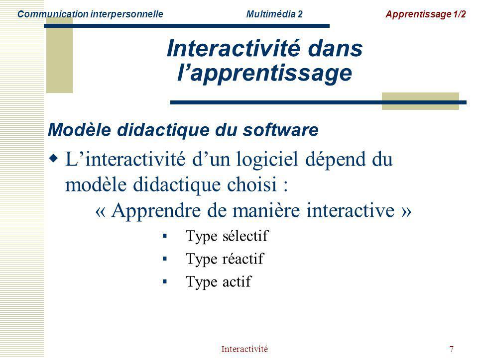 Interactivité dans l'apprentissage