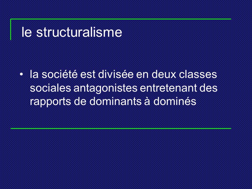 le structuralisme la société est divisée en deux classes sociales antagonistes entretenant des rapports de dominants à dominés.