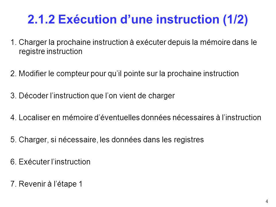 2.1.2 Exécution d'une instruction (1/2)