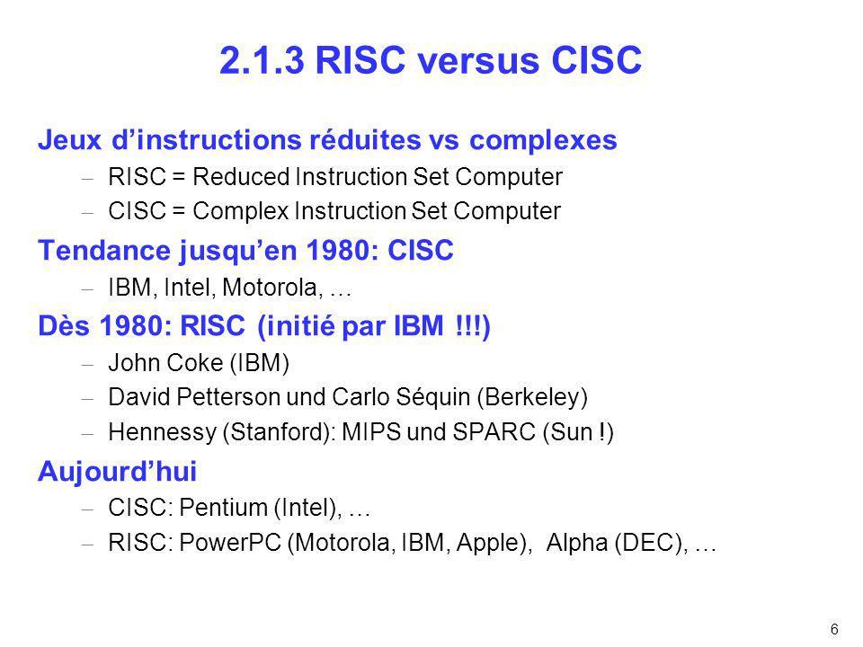 2.1.3 RISC versus CISC Jeux d'instructions réduites vs complexes