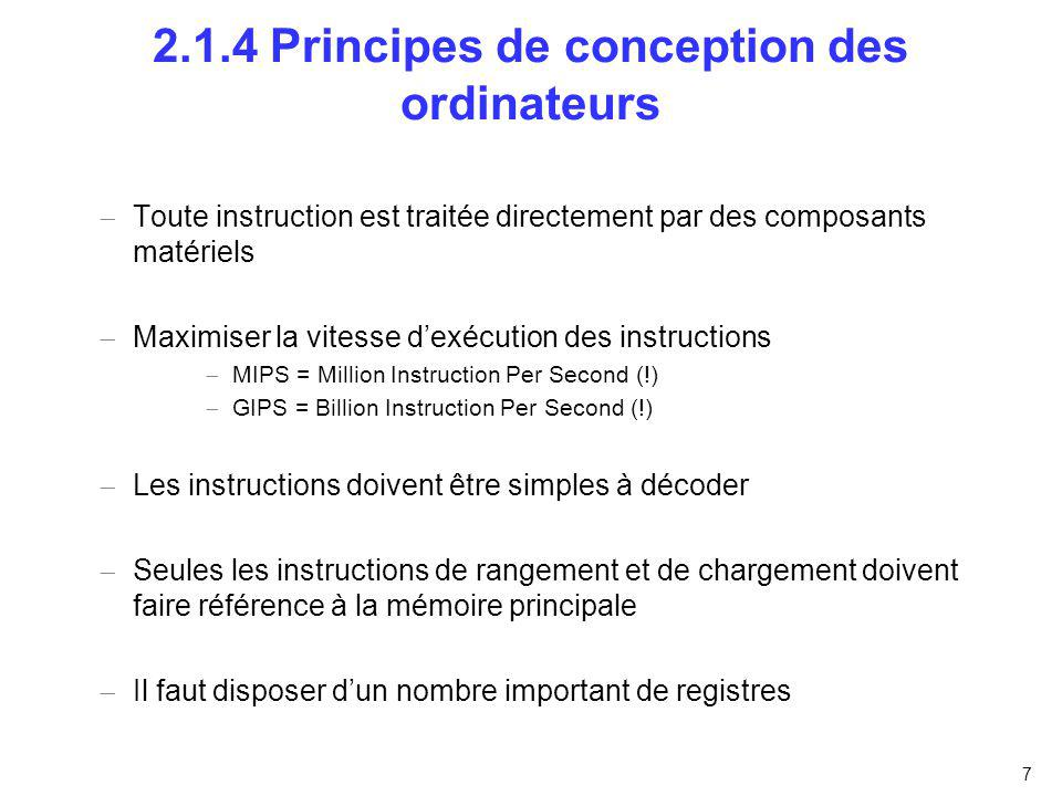 2.1.4 Principes de conception des ordinateurs