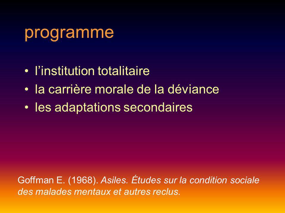 programme l'institution totalitaire la carrière morale de la déviance