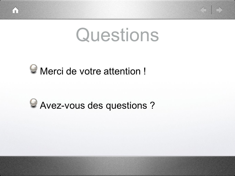 Questions Merci de votre attention ! Avez-vous des questions