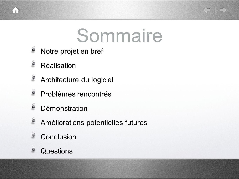 Sommaire Notre projet en bref Réalisation Architecture du logiciel