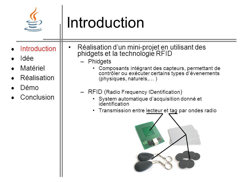 Introduction  Introduction  Idée Matériel Réalisation Démo