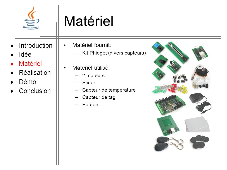Matériel  Introduction  Idée Matériel Réalisation Démo Conclusion