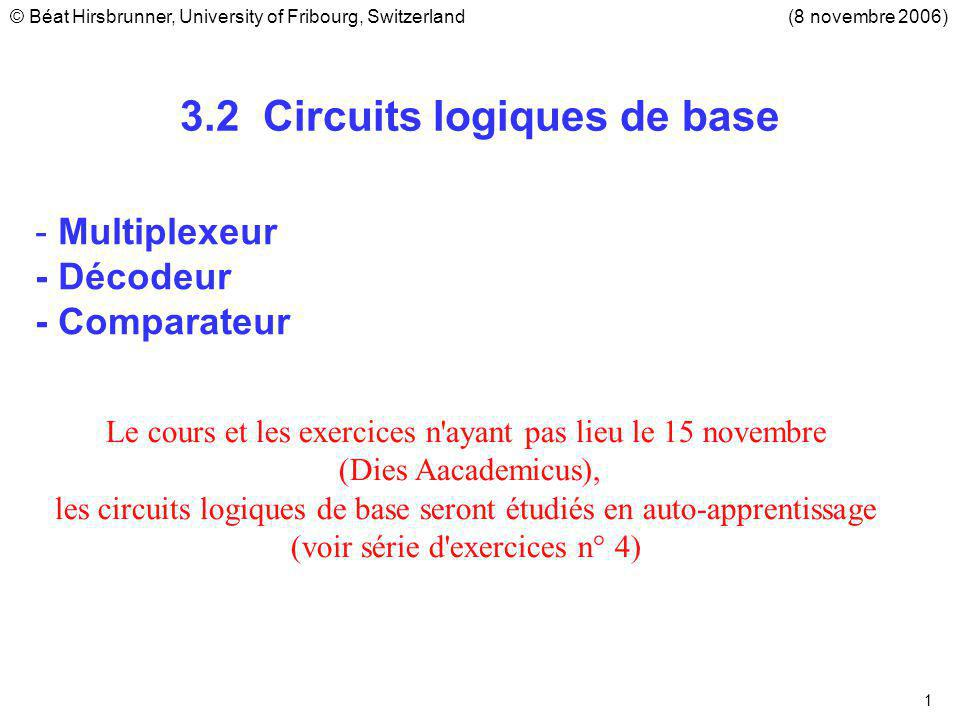 3.2 Circuits logiques de base