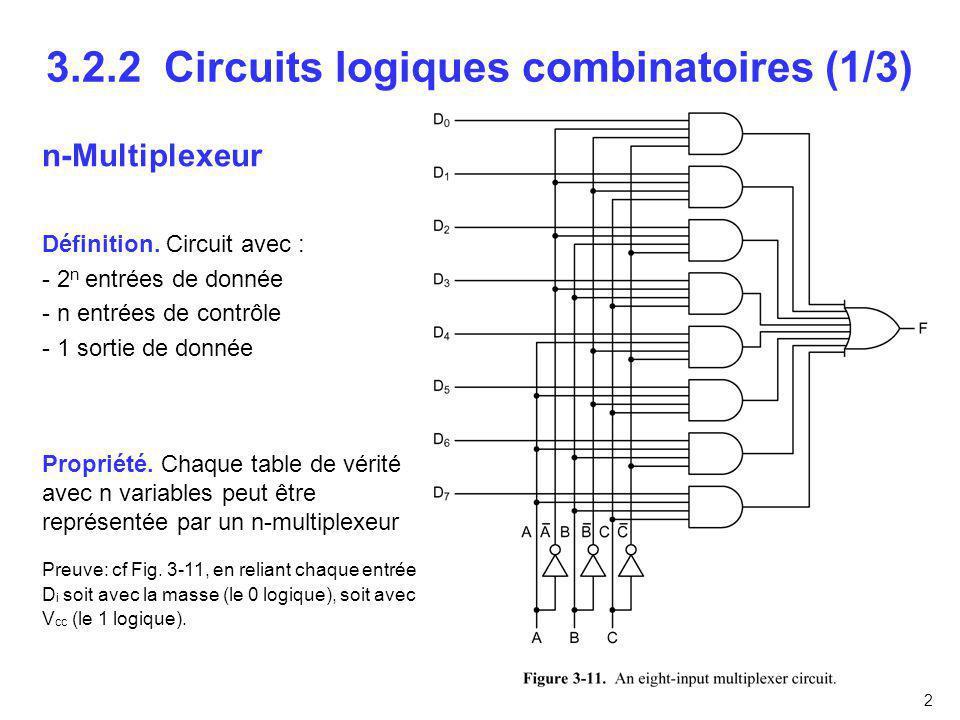 3.2.2 Circuits logiques combinatoires (1/3)