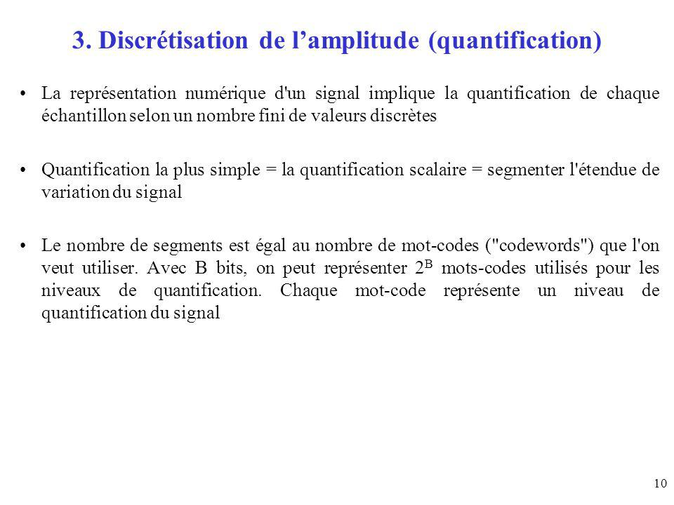 3. Discrétisation de l'amplitude (quantification)
