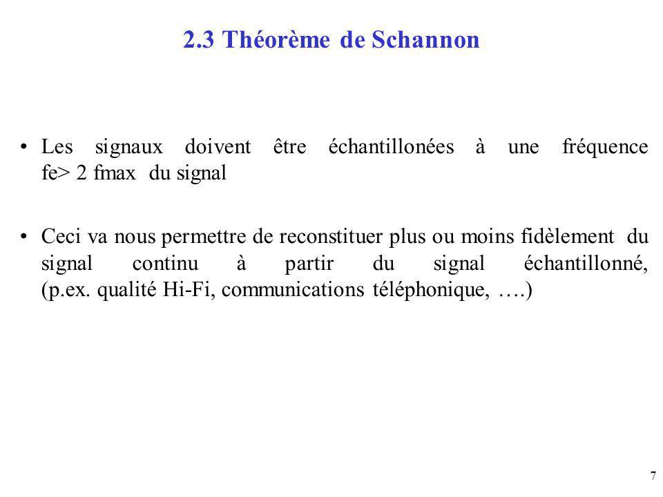 2.3 Théorème de Schannon Les signaux doivent être échantillonées à une fréquence fe> 2 fmax du signal.