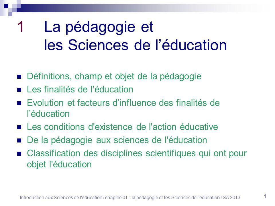 1 La pédagogie et les Sciences de l'éducation