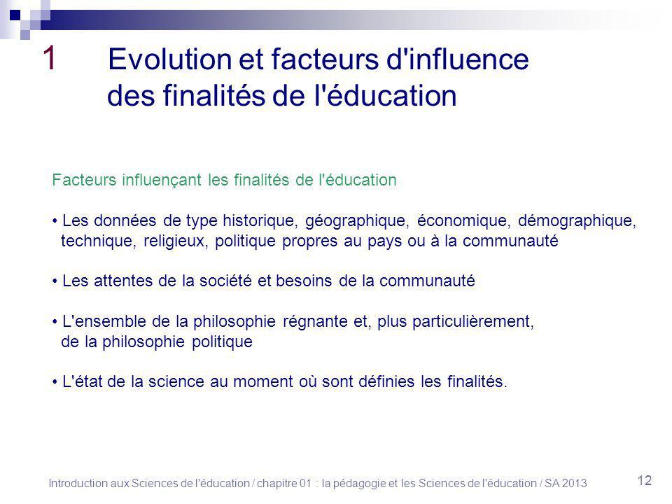 1 Evolution et facteurs d influence des finalités de l éducation