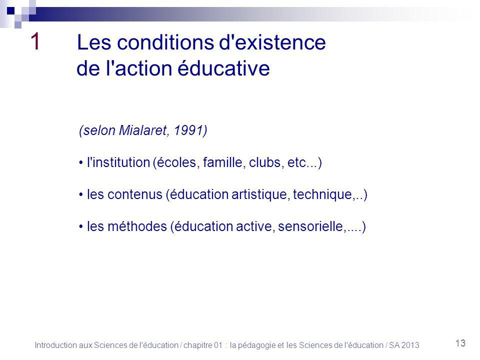 1 Les conditions d existence de l action éducative