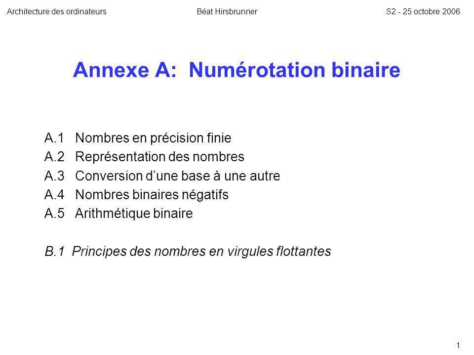 Annexe A: Numérotation binaire