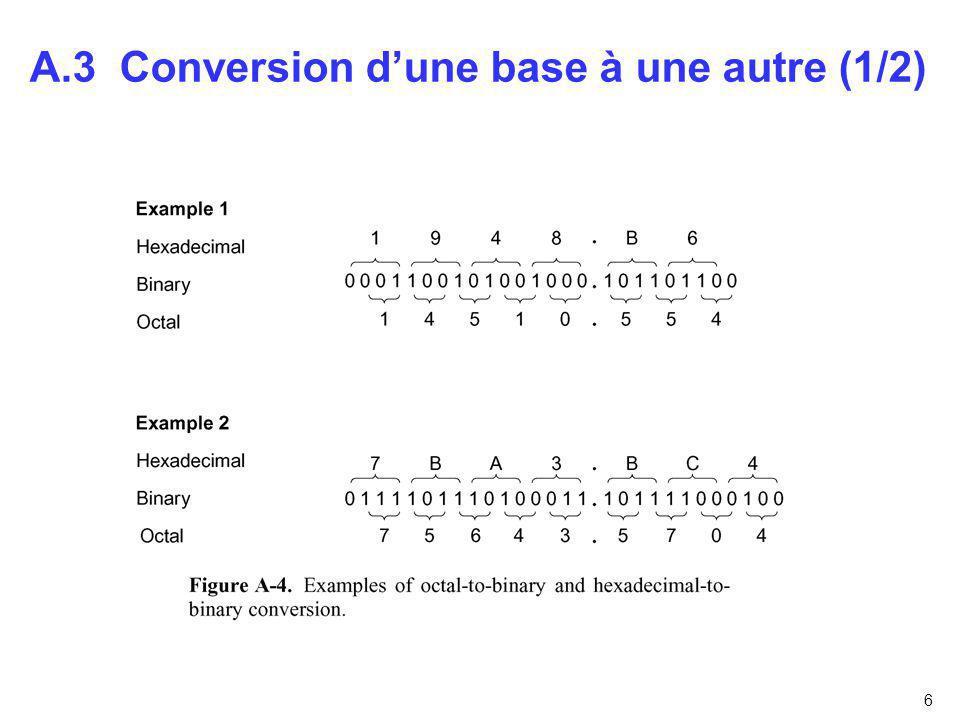 A.3 Conversion d'une base à une autre (1/2)