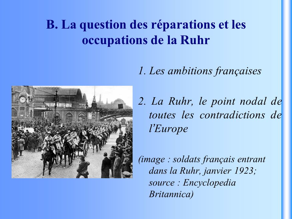 B. La question des réparations et les occupations de la Ruhr