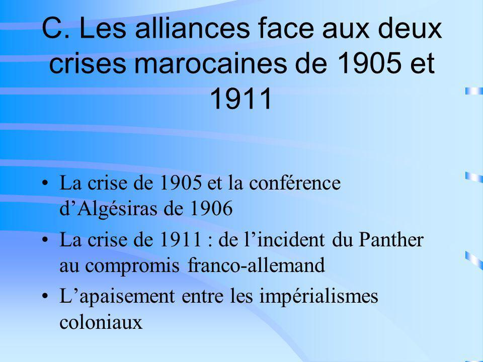 C. Les alliances face aux deux crises marocaines de 1905 et 1911
