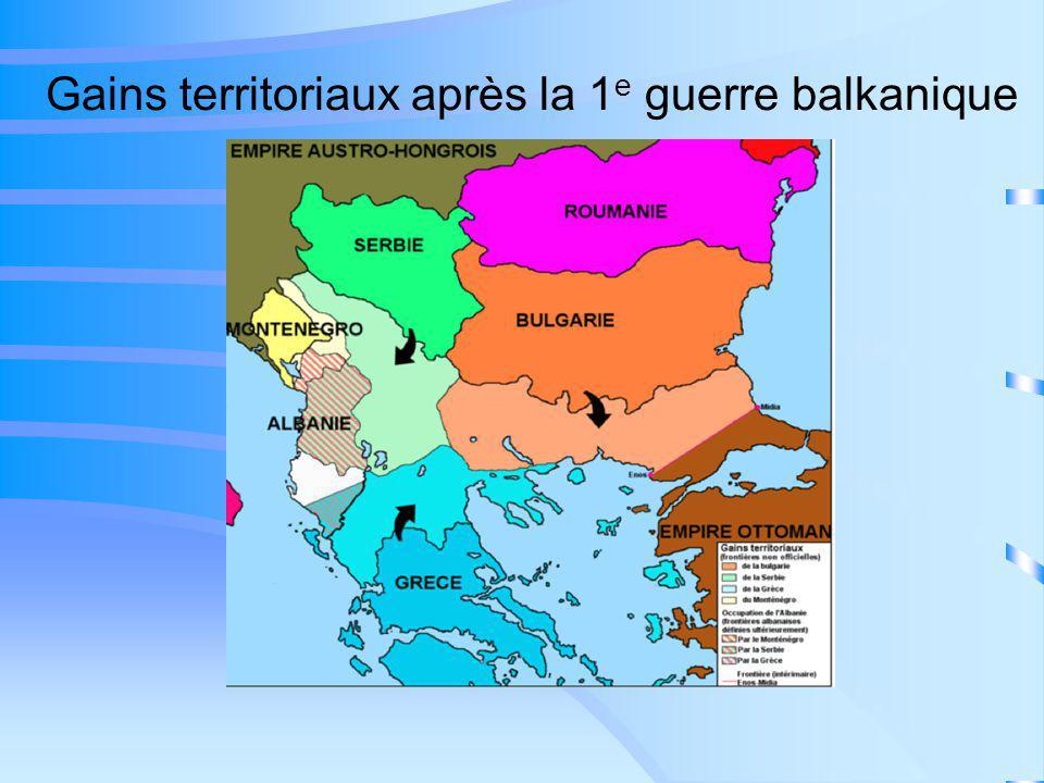 Gains territoriaux après la 1e guerre balkanique