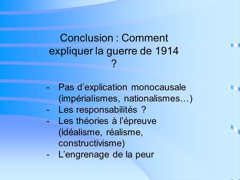 Conclusion : Comment expliquer la guerre de 1914