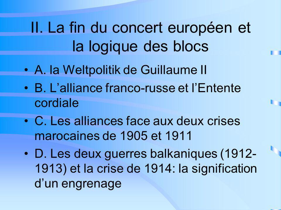 II. La fin du concert européen et la logique des blocs