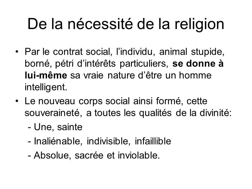 De la nécessité de la religion