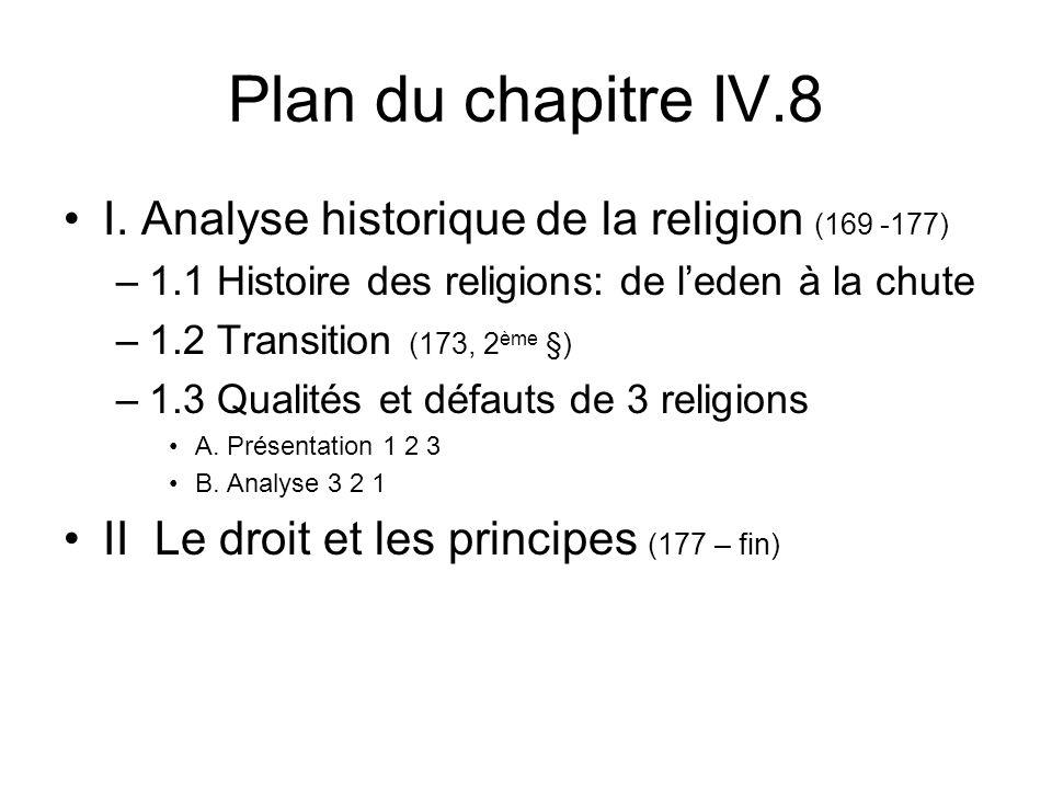 Plan du chapitre IV.8 I. Analyse historique de la religion (169 -177)