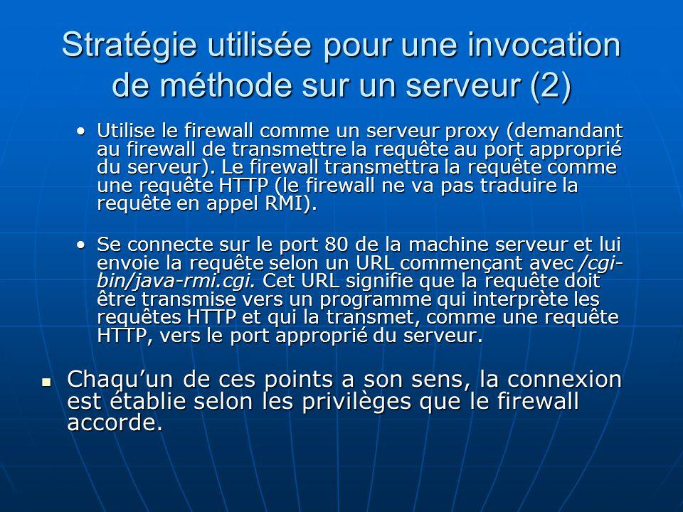 Stratégie utilisée pour une invocation de méthode sur un serveur (2)