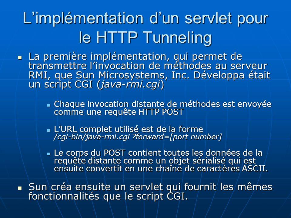 L'implémentation d'un servlet pour le HTTP Tunneling