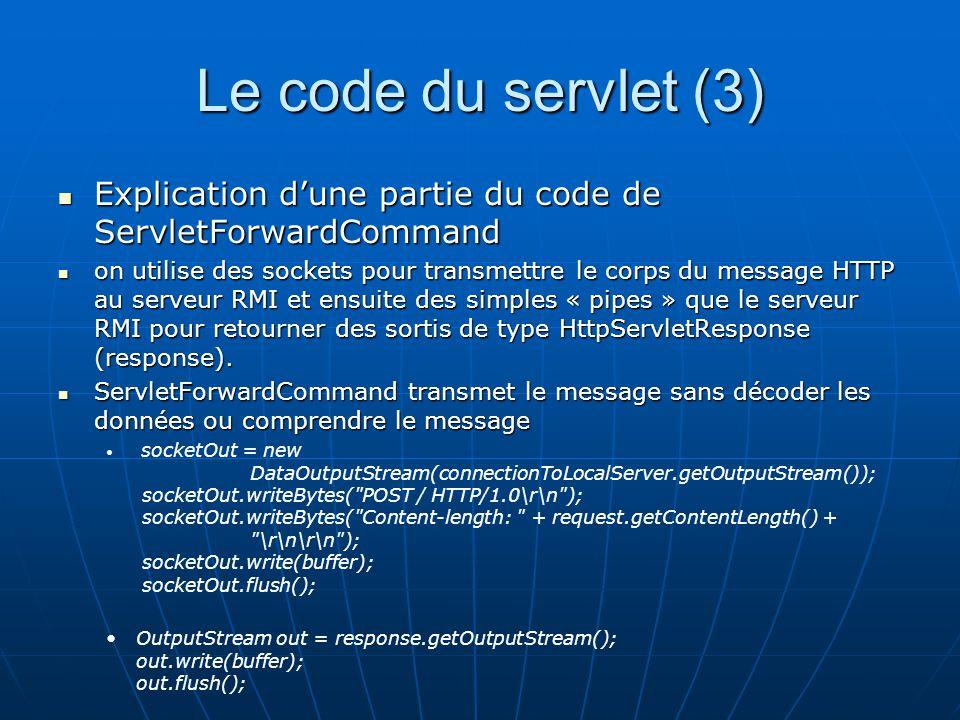 Le code du servlet (3) Explication d'une partie du code de ServletForwardCommand.