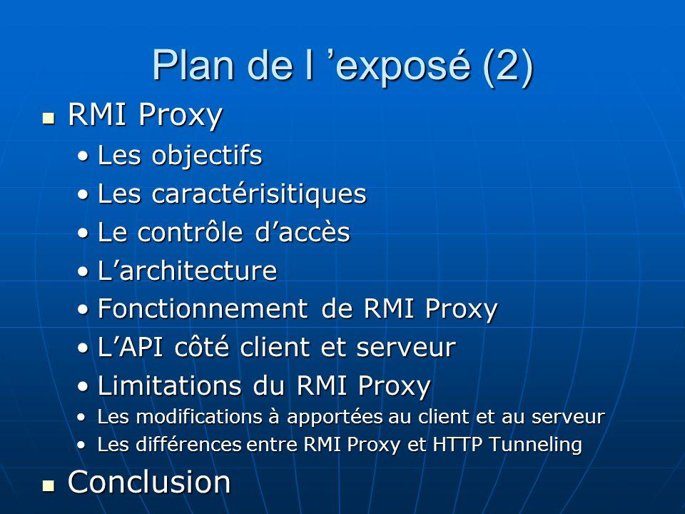 Plan de l 'exposé (2) RMI Proxy Conclusion Les objectifs