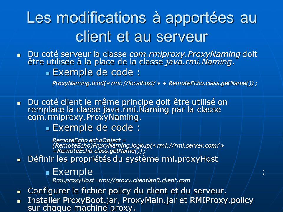 Les modifications à apportées au client et au serveur