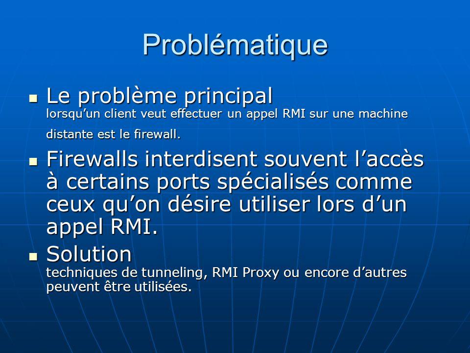 Problématique Le problème principal lorsqu'un client veut effectuer un appel RMI sur une machine distante est le firewall.